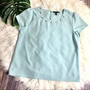 FOREVER 21 pale blue studded neck blouse&